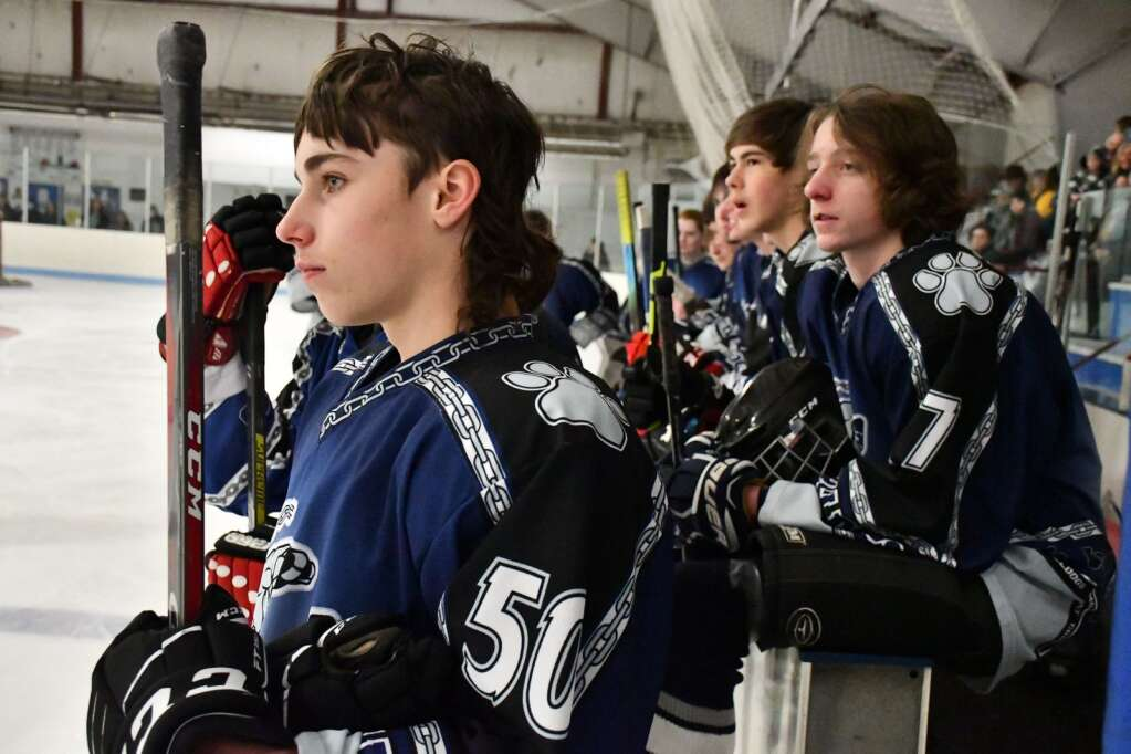 Members of the Bulldogs'  hockey team watches the Senior Night ceremony from the bench Saturday night. (Andy Bockelman / For Craig Press)