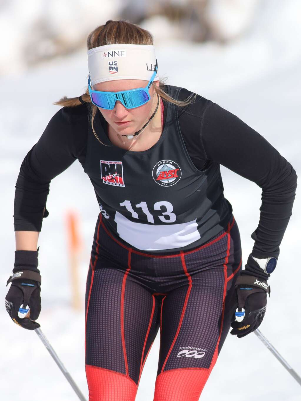 Kate Oldham competes in a cross-country ski race on Saturday, Feb. 6, 2021, near the AVSC Clubhouse. Photo by Austin Colbert/The Aspen Times.