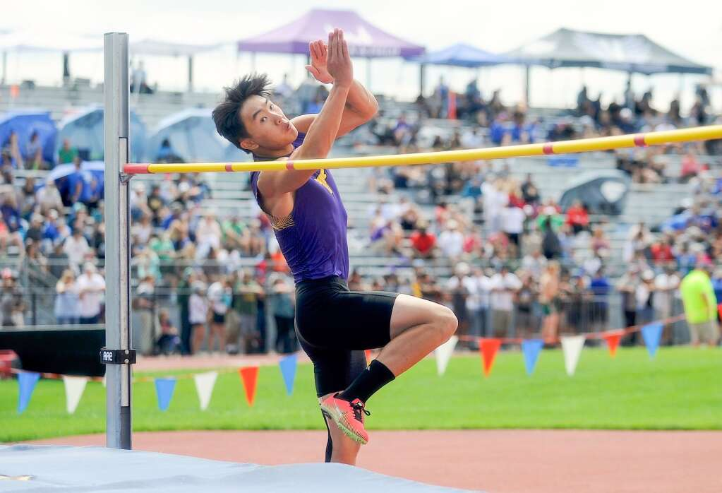 Basalt High School junior Ryan Zheng competes in the Class 3A boys' high jump at the state track and field championships on Saturday, June 26, 2021, at Jefferson County Stadium in Lakewood. Photo by Shelby Reardon/Steamboat Pilot & Today.