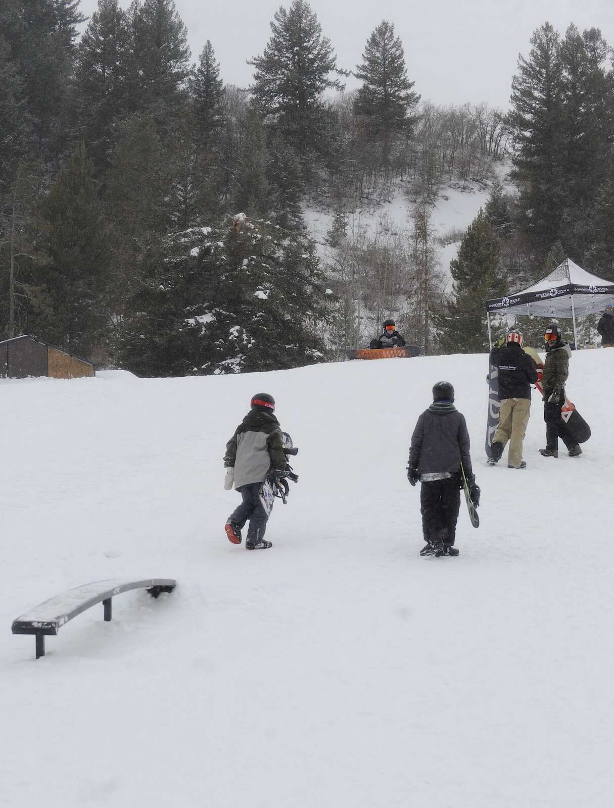 Snowboarders and skiers of all ages and abilities gathered Saturday at Howelsen Hill at a free, public rail jam.