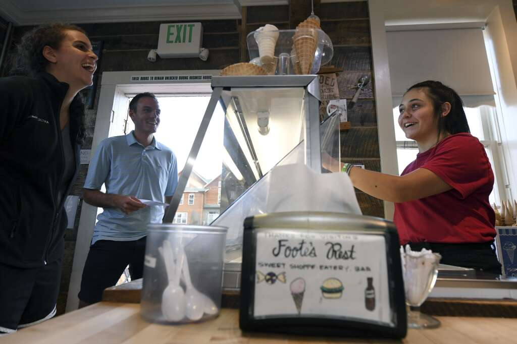 Autumn Kennedy, a senior at Snowy Peaks High School, takes an order of homemade ice cream at Foote's Rest Sweet Shoppe in Frisco on Tuesday, Aug. 17. | Photo by Jason Connolly / Jason Connolly Photography