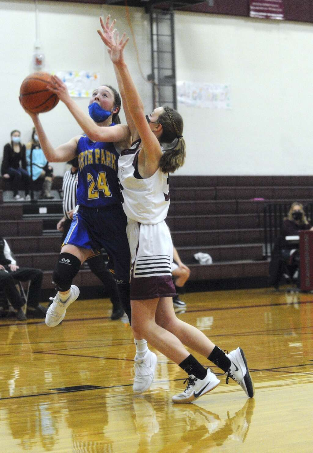 North Park junior Paige Sanchez attempts a shot despite coverage from Soroco junior Eden Mayer during a game in Oak Creek on Saturday afternoon. (Photo by Shelby Reardon)