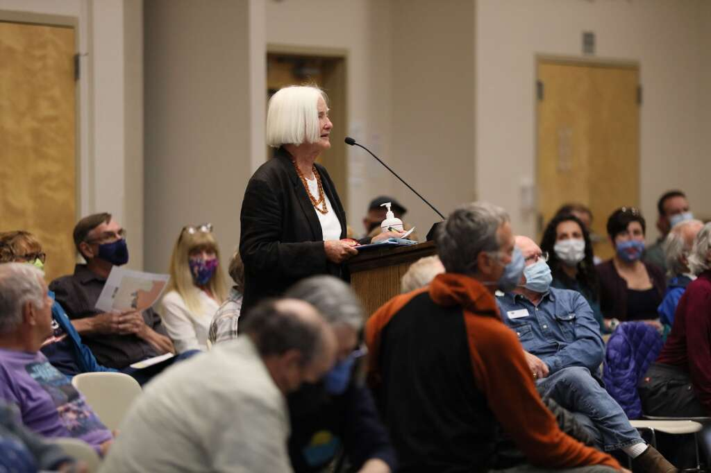 Dr. Susan Newcomer speaks during a community hearing with the Colorado Independent Redistricting Commissions on Saturday, July 31, 2021 in Frisco. The hearing provided Coloradans a chance to voice their input for preliminary map drawings. | Photo by Ashley Low / Ashley Low Photography