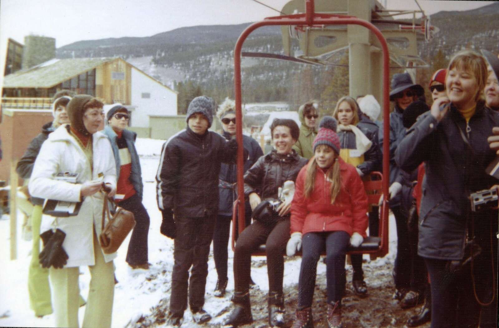Skiers pose for a photo around the chairlift at Keystone Mountain Ski Area's grand opening Nov. 21, 1970. | Photo from the Bergman family