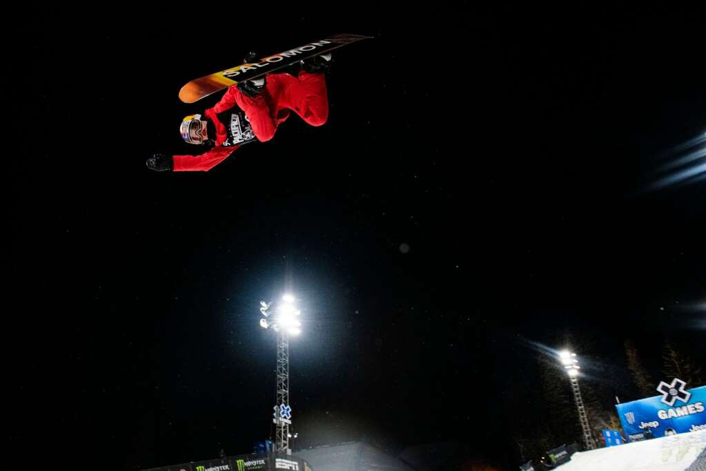 Snowboarder Maddie Mastro competes in the X Games women's snowboard superpipe finals at Buttermilk on Saturday, Jan. 30, 2021. Mastro took home a silver medal. (Kelsey Brunner/The Aspen Times)