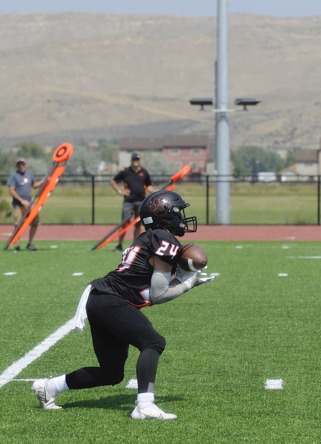 Sabyn Hager catches a kickoff during the Hayden football  home opener against Mancos on Saturday afternoon at Hayden Valley School. (Photo by Shelby Reardon)