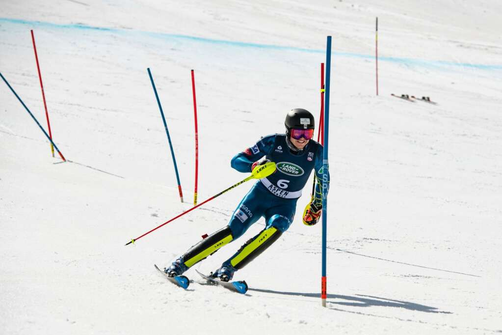 American alpine skier Luke Winters competes in the U.S. Alpine Championships on Wednesday, April 7, 2021. Winters placed first in the Men's Super G Championships. (Kelsey Brunner/The Aspen Times)