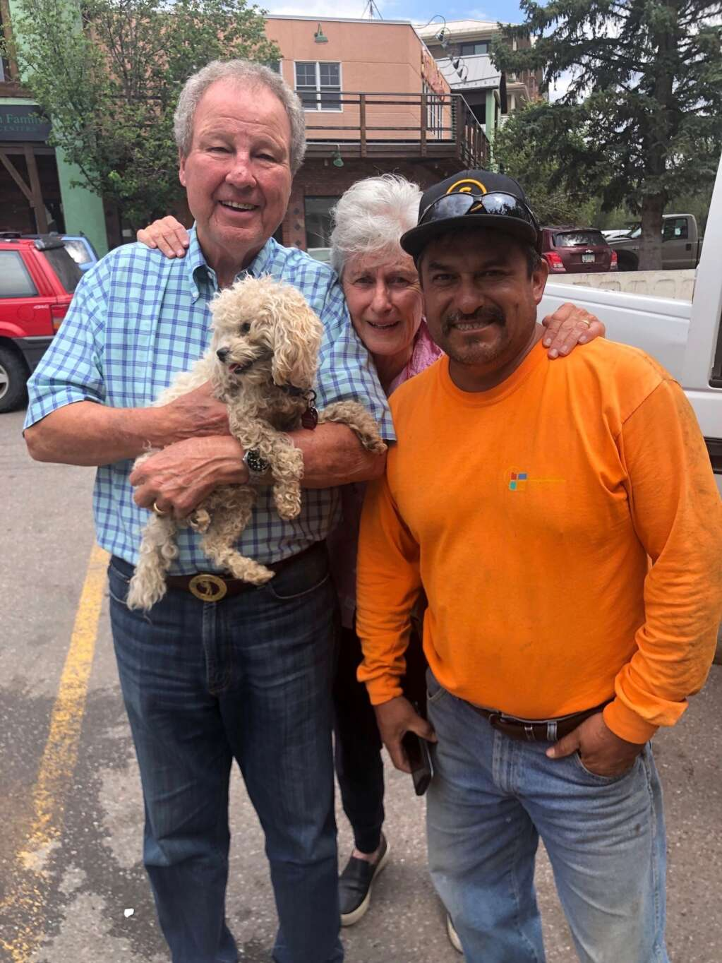 Bella was found by Rosario Ochoa, right, four weeks after she disappeared in Capitol Creek Valley. Ochoa reunited Bella with Jim and Betsy Chaffin.   Courtesy photo