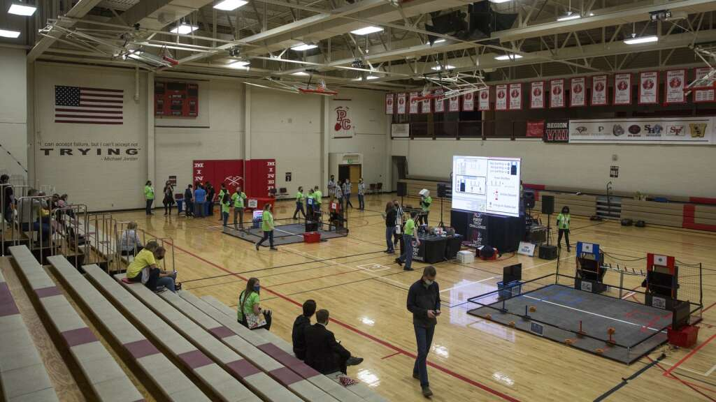 Spectators trickle into the gymnasium for the Park City Qualifier on Saturday, April 3, 2021, for the qualifying FTC matches. (Tanzi Propst/Park Record)