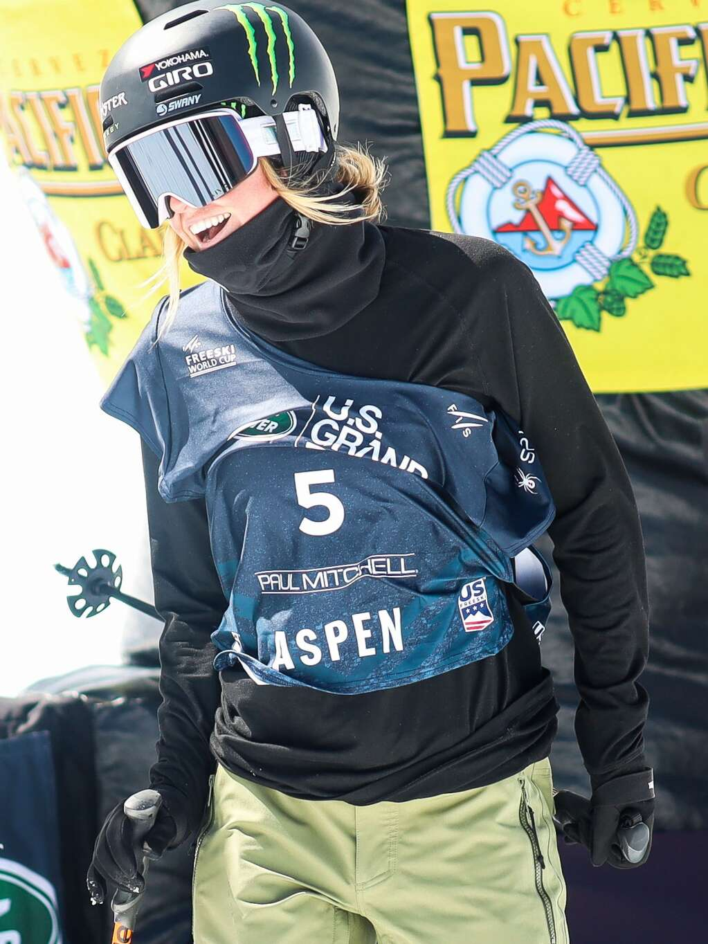 American Brita Sigourney hangs out after the women's freeski halfpipe qualifier of the Land Rover U.S. Grand Prix and World Cup on Friday, March 19, 2021, at Buttermilk Ski Area in Aspen. Photo by Austin Colbert/The Aspen Times.