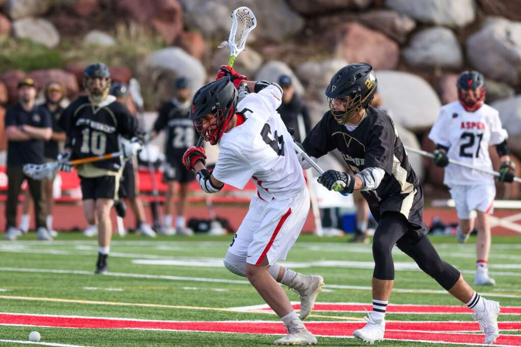 The Aspen High School boys lacrosse team plays Battle Mountain on Wednesday, May 19, 2021, on the AHS turf. Photo by Austin Colbert/The Aspen Times.