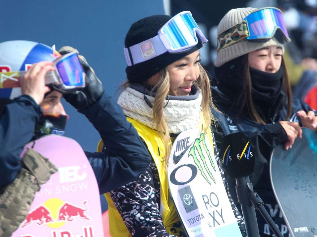 California's Chloe Kim, center, stands with her fellow podium finishers after the women's snowboard halfpipe competition at the U.S. Grand Prix and World Cup on Sunday, March 21, 2021, at Buttermilk Ski Area in Aspen. Photo by Austin Colbert/The Aspen Times.