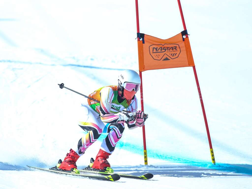 Skier Julie Granshaw, of Breckenridge, competes on the giant slalom course at NASTAR national championships on April 7, 2021, at Snowmass Ski Area. | Austin Colbert/The Aspen Times.