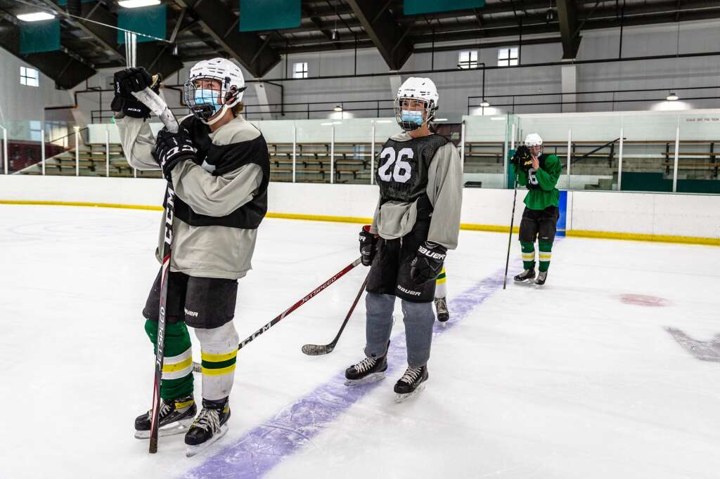 The Summit High School Tigers take to the ice Thursday, Jan. 21, for practice at Stephen C. West Ice Arena in Breckenridge. | Photo by Liz Copan / Studio Copan