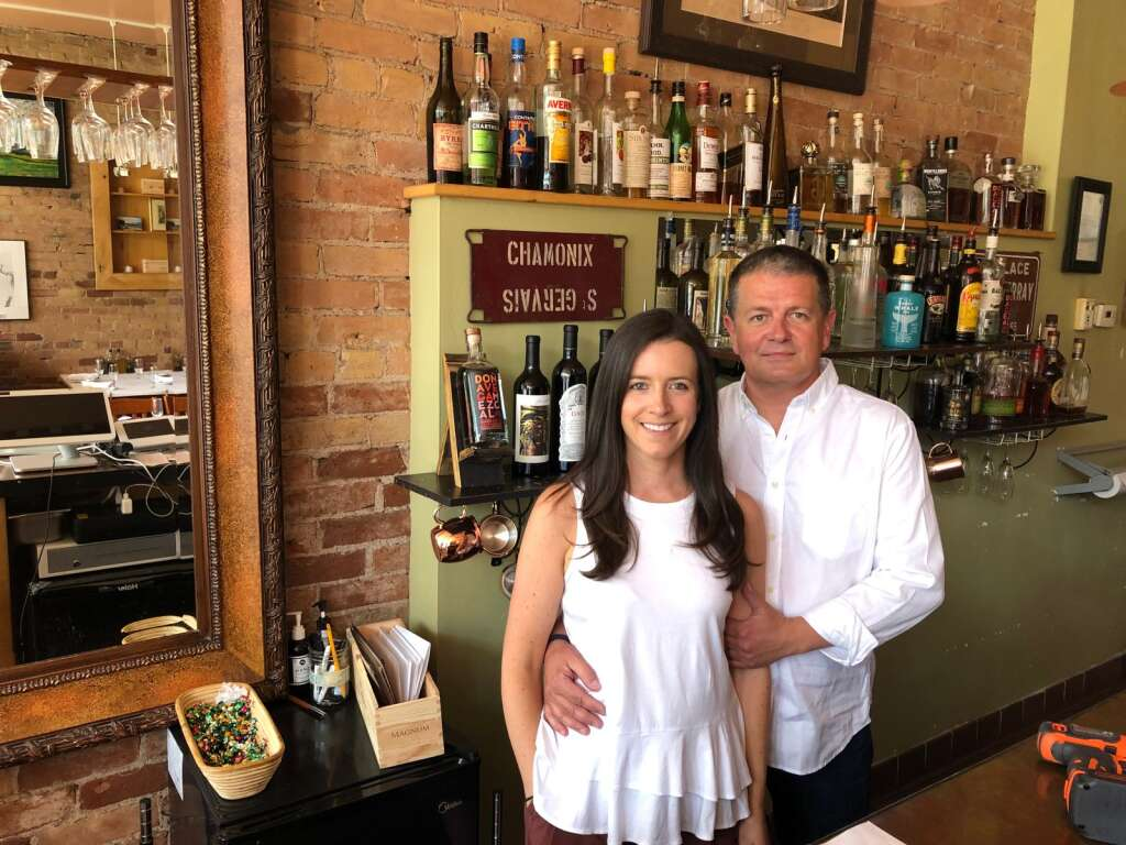 Emma and Benoit DeFrancisco bought Allegria Restaurant in Carbondale on June 30. The sign behind them celebrates Benoit's roots in Chamonix. | Scott Condon/The Aspen Times