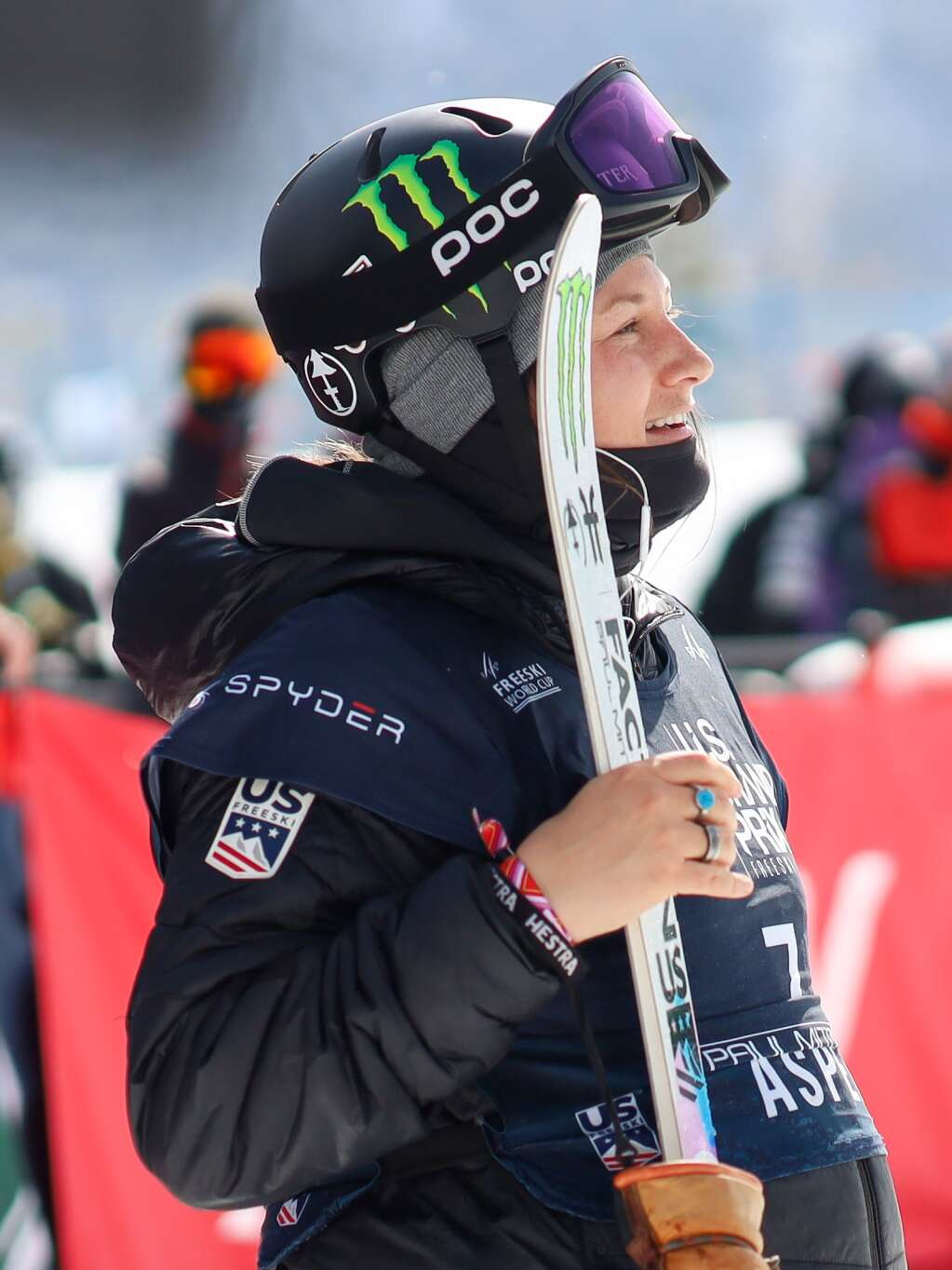 Devin Logan awaits her score during the women's freeski halfpipe finals of the U.S. Grand Prix on Sunday, March 21, 2021, at Buttermilk Ski Area in Aspen. Photo by Austin Colbert/The Aspen Times.