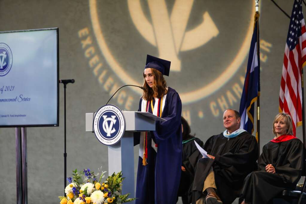 Kendelle Smith, valedictorian of Vail Christian Class of 2021, speaks during the commencement ceremony Sunday in Vail.   Chris Dillmann/cdillmann@vaildaily.com