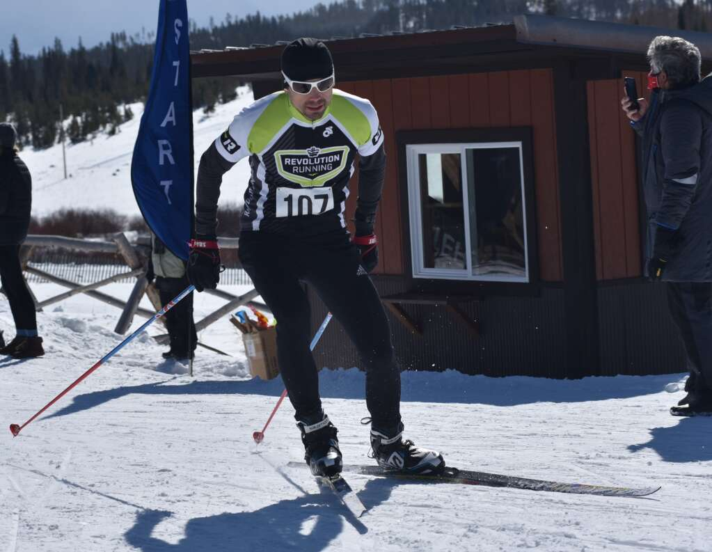 A skier takes off in the Stampede race Saturday at Snow Mountain Ranch. | Amy Golden / agolden@skyhinews.com