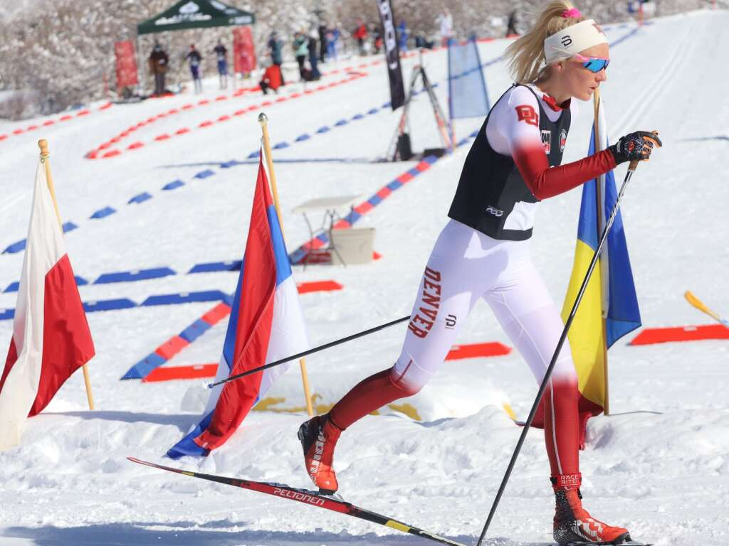 A University of Denver skier competes in an AVSC cross-country ski race on Saturday, Feb. 6, 2021, near the AVSC Clubhouse. Photo by Austin Colbert/The Aspen Times.