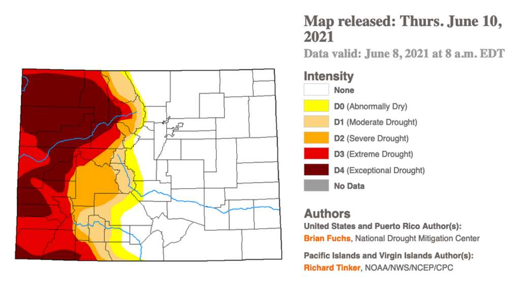 Drought levels in Grand County and across Colorado as of June 8, 2021. | US Drought Monitor