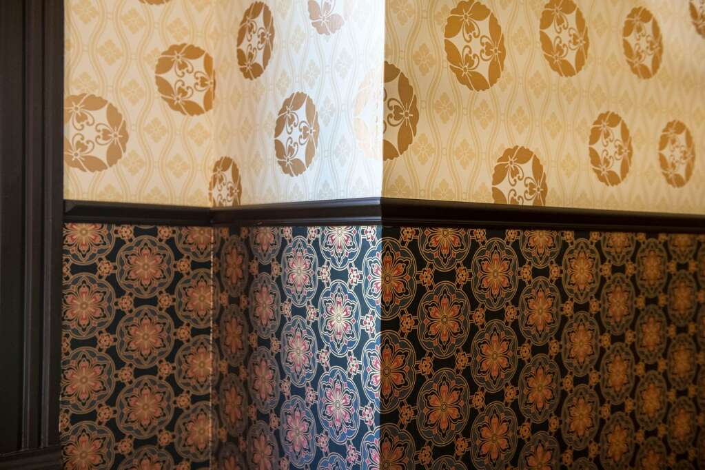 New wallpaper and trim was added to the walls of the Aspen Historical Society's victorian Wheeler-Stallard Museum on W. Bleeker St. in Aspen on Wednesday, May 12, 2021. (Kelsey Brunner/The Aspen Times)
