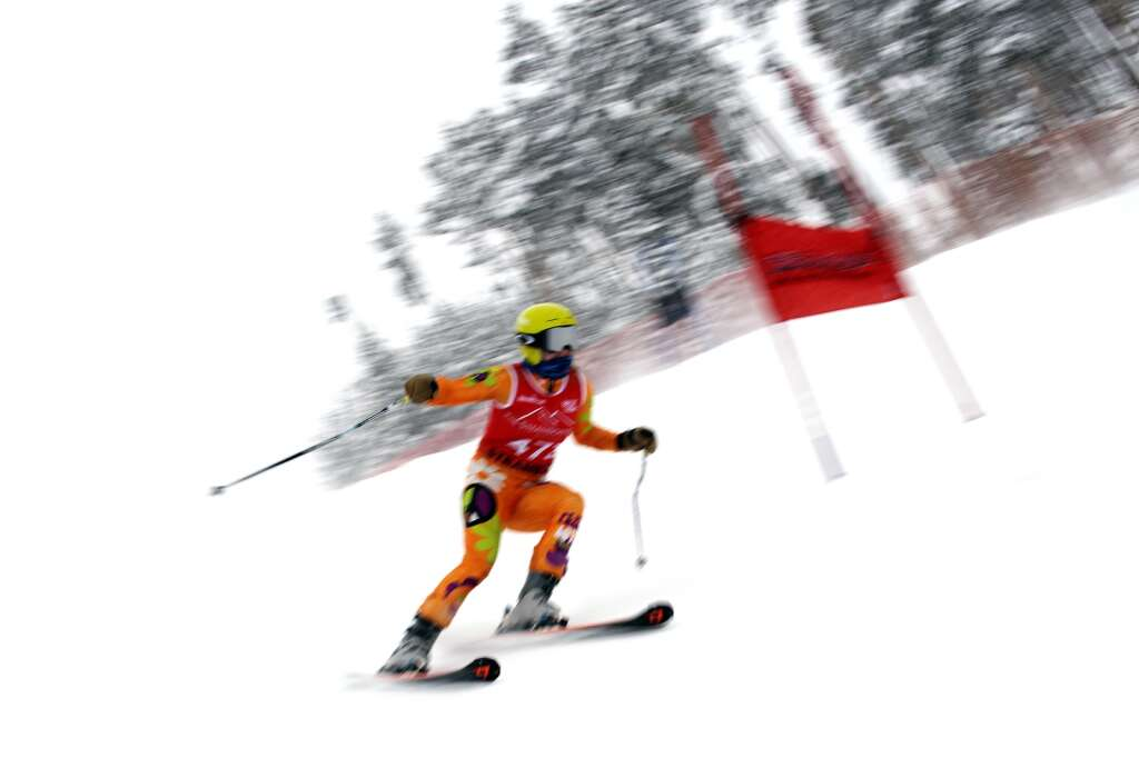 A racer competes in giant slalom during a high school Alpine ski competition at Keystone Resort on Friday, Feb. 5, 2021. | Photo by Jason Connolly / Jason Connolly Photography