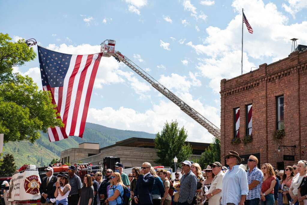 A crowd gathered for the 20th annual Day of Remembrance for 9/11 at Aspen Volunteer Fire Department on East Hopkins on Saturday, Sept. 11, 2021. (Kelsey Brunner/The Aspen Times)