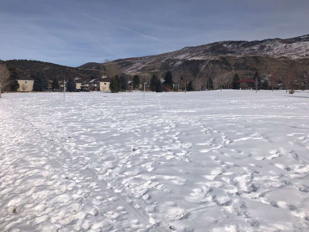 This little-used section of Crown Mountain Park is being discussed as a possible site for the sportsplex. The view is in the park looking toward Valley Road and the Sopris View Apartments. | Scott Condon/The Aspen Times