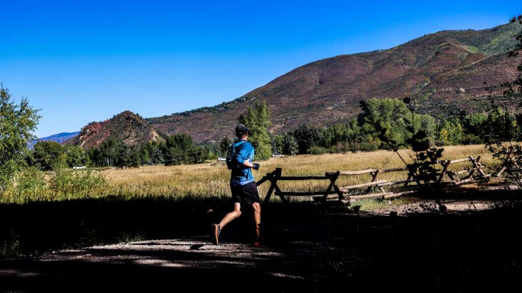 A runner competes in the Golden Leaf half marathon on Saturday, Sept. 18, 2021, in Aspen. Photo by Austin Colbert/The Aspen Times.