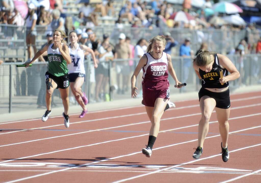 Soroco junior Kayedence Bruner anchored the 4x100, helping her team qualify for the finals at the CHSAA Track and Field State Championships at JeffCo Stadium on Friday. (Photo by Shelby Reardon)