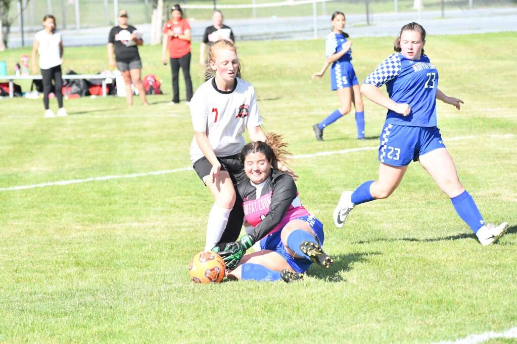Haley Mendoza, center, takes the ball from a Grand Valley player during Moffat County girls soccer's home finale Thursday in Craig. | Andy Bockelman/For the Craig Press