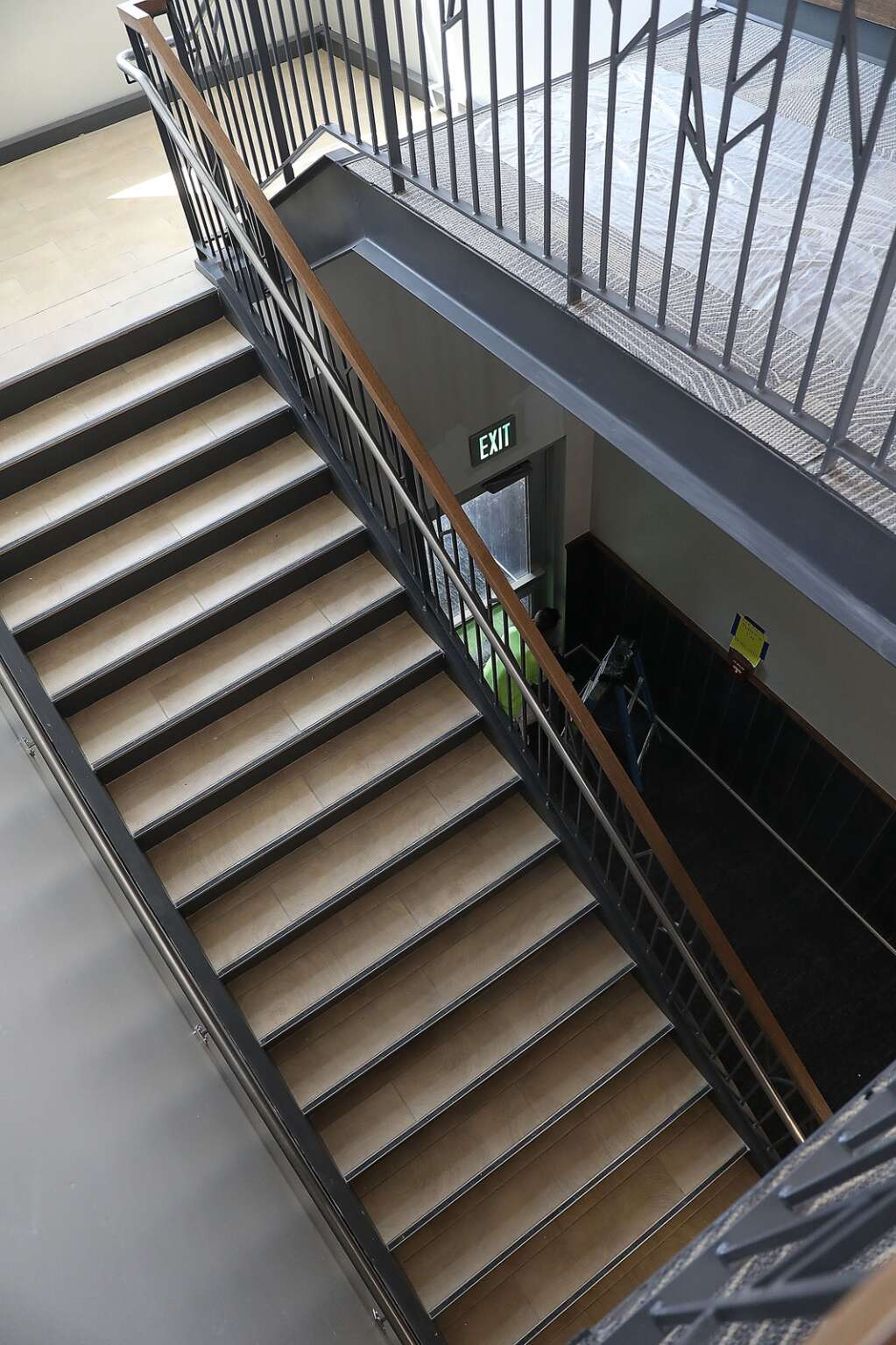 Students will soon be climbing the staircase at the new Sleeping Giant School. (Photo by John F. Russell)