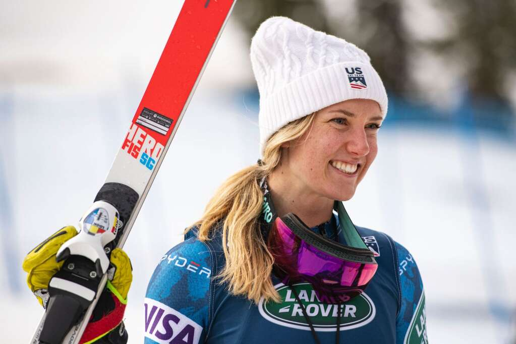 American alpine skier Emma Resnick stands on the podium after placing first for the junior Women's Super G National Championships at Aspen Highlands on Tuesday, April 13, 2021. (Kelsey Brunner/The Aspen Times)