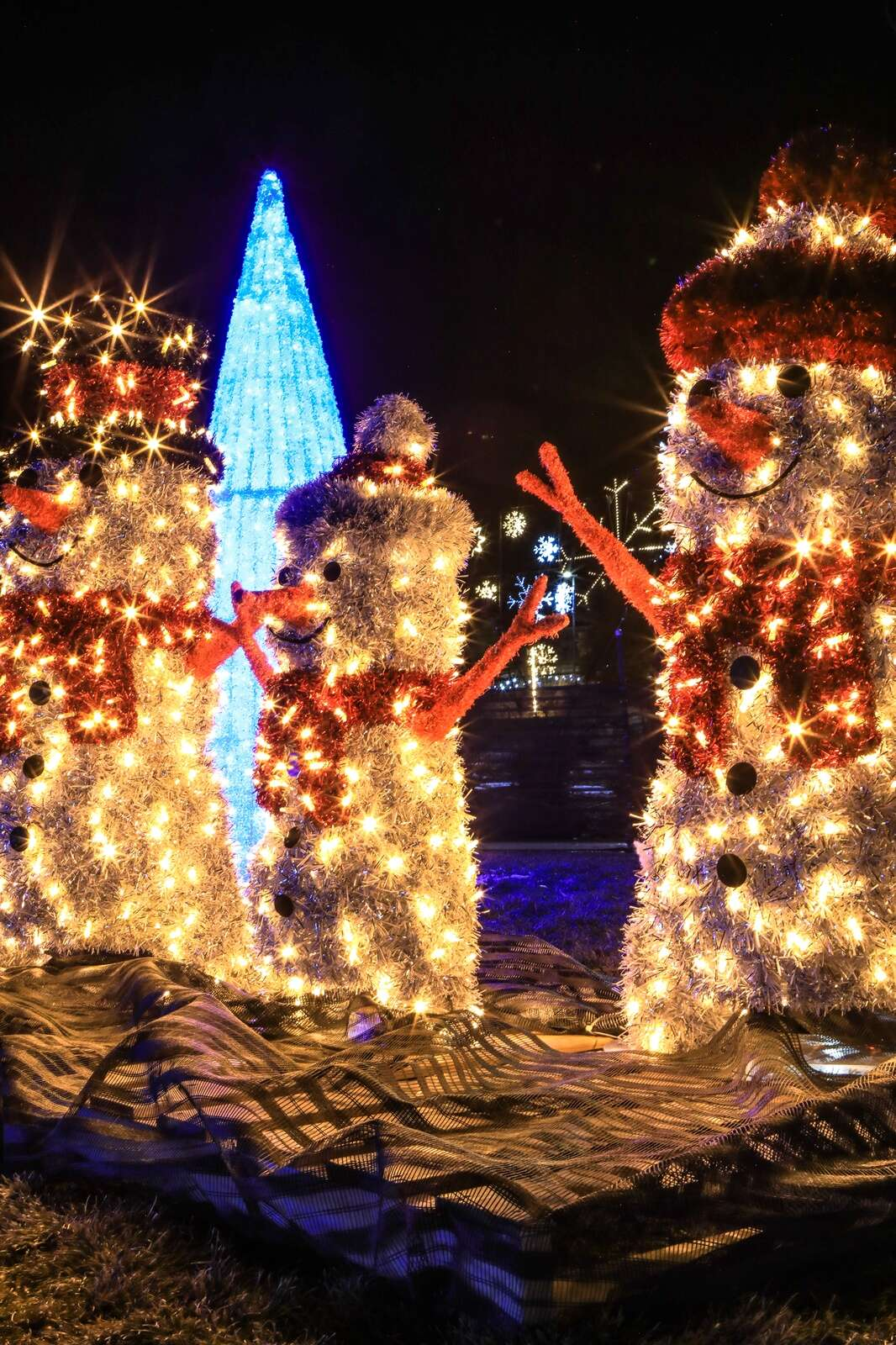Lit snowpeople light up for the Magic of Lights Vail Thursday in Vail. Consessions are available.