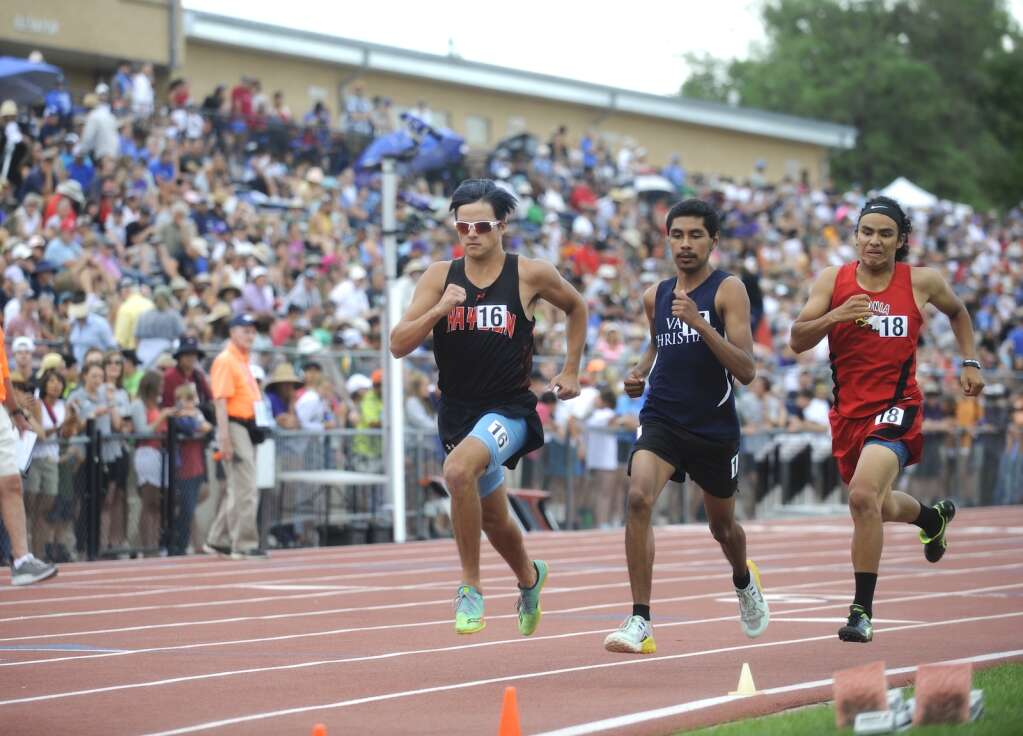 Hayden senior Keaton Knez runs the 800-meter race at the CHSAA Track and Field State Championships at JeffCo Stadium on Friday. (Photo by Shelby Reardon)