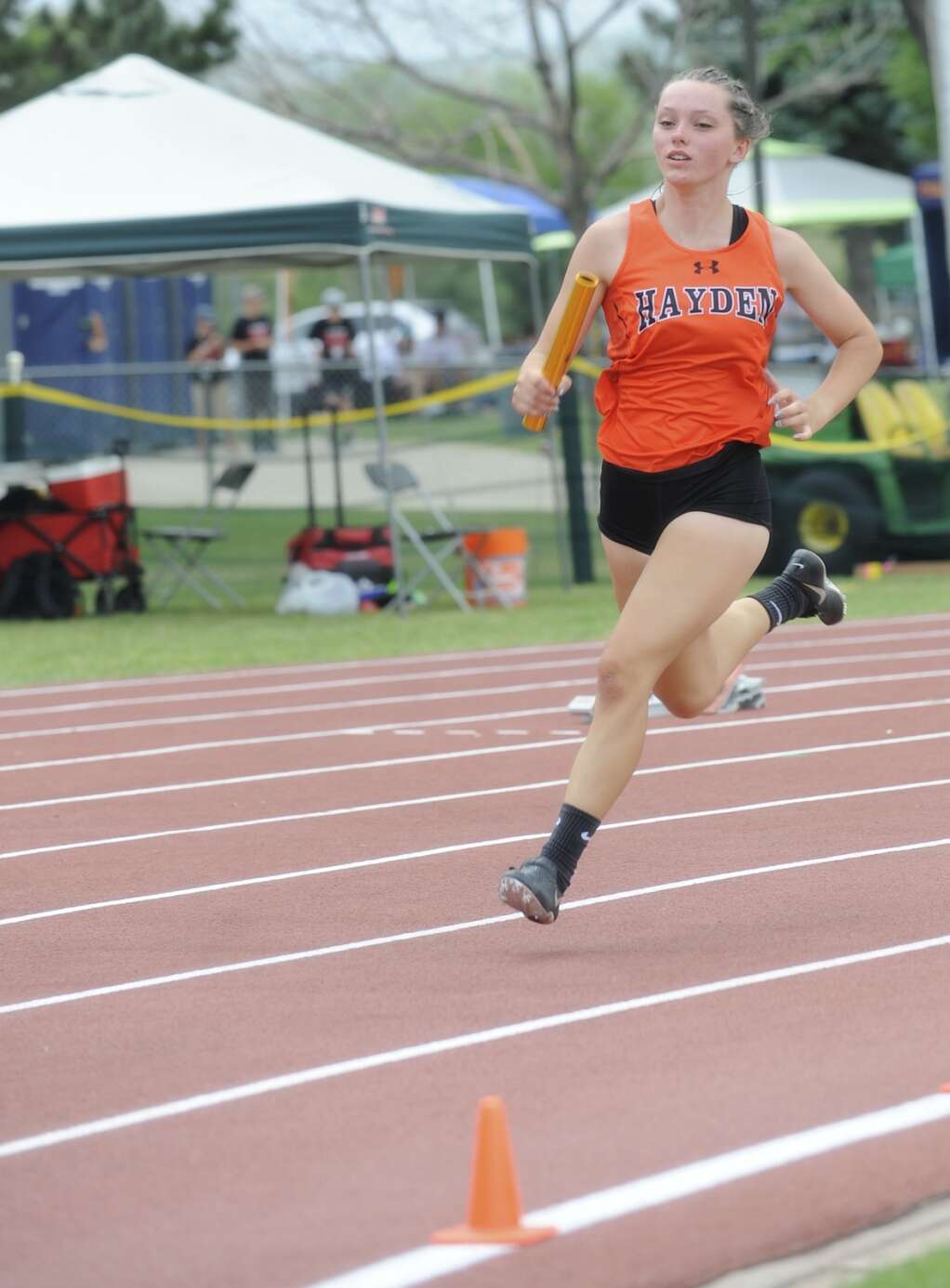 Hayden senior Mia Mikos competes inthe 4x200 at the CHSAA Track and Field State Championships at JeffCo Stadium on Thursday. (Photo by Shelby Reardon)