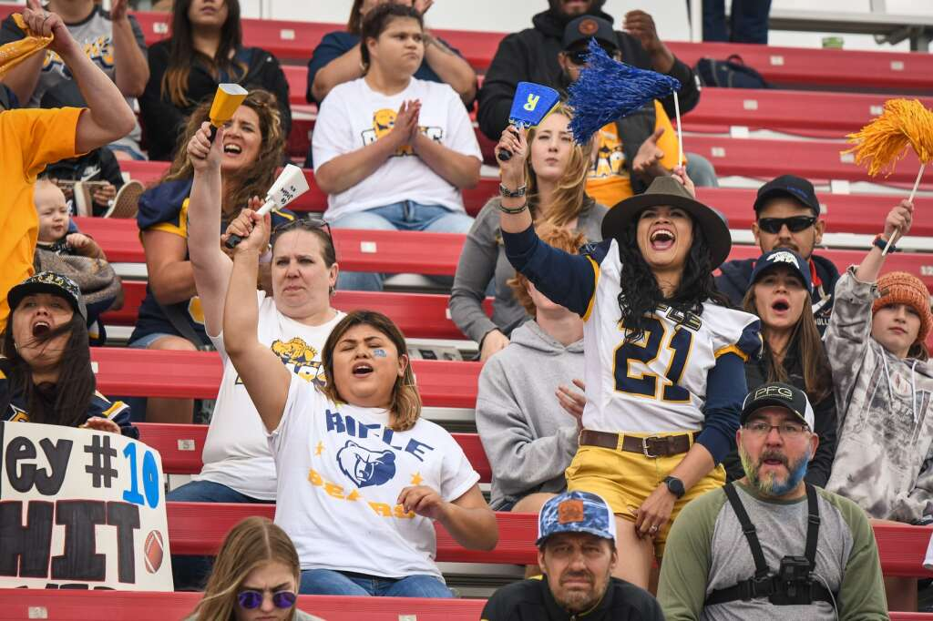 Rifle Bears fans cheer on their team during Saturday's 3A spring state title game against The Classical Academy at CSU Pueblo.  |Chelsea Self / Post Independent