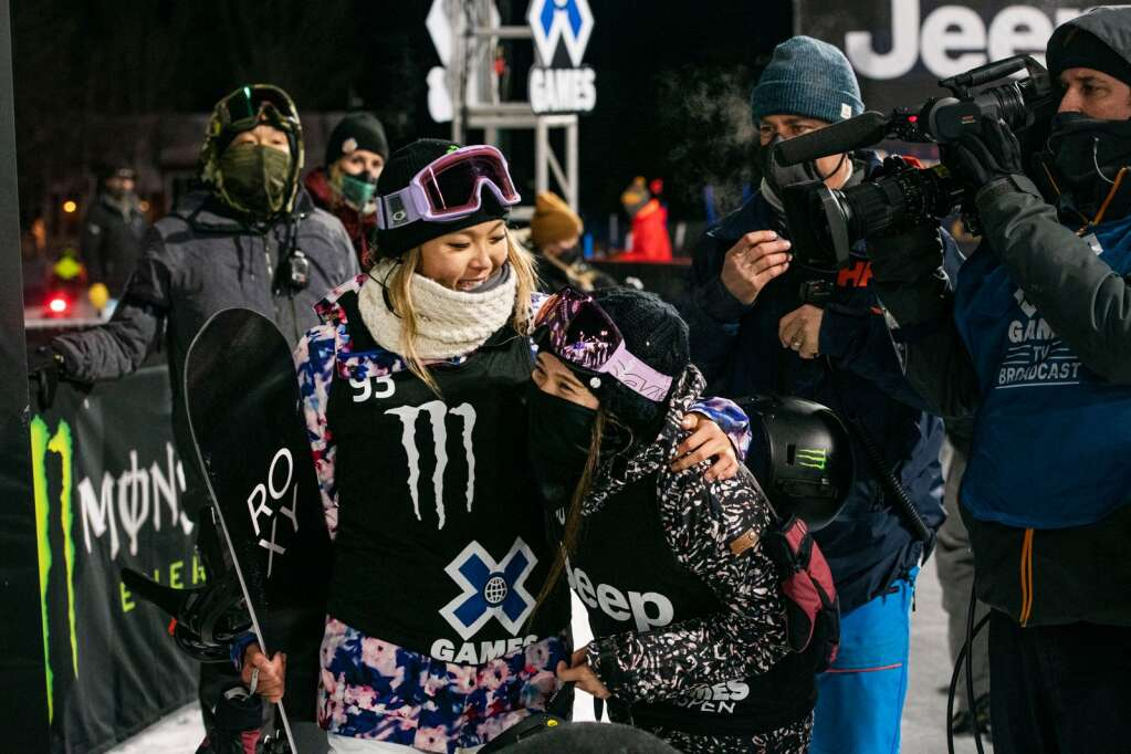 Chloe Kim, left, and Haruna Matsumoto congratulate each other after both medaling in the women's snowboard superpipe finals at X Games Aspen on Saturday, Jan. 30, 2021. Kim received her eight X Games medal. (Kelsey Brunner/The Aspen Times)