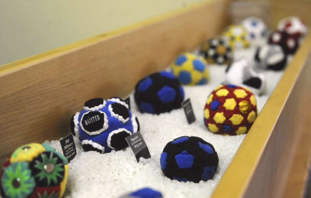 World Footbag in Steamboat Springs sells footbags wholesale and to casual shoppers. There is a display of dozens of varieties at its headquarters. Footbags have historically been made of a wide variety of materials and fillers. | Shelby Reardon/Steamboat Pilot & Today
