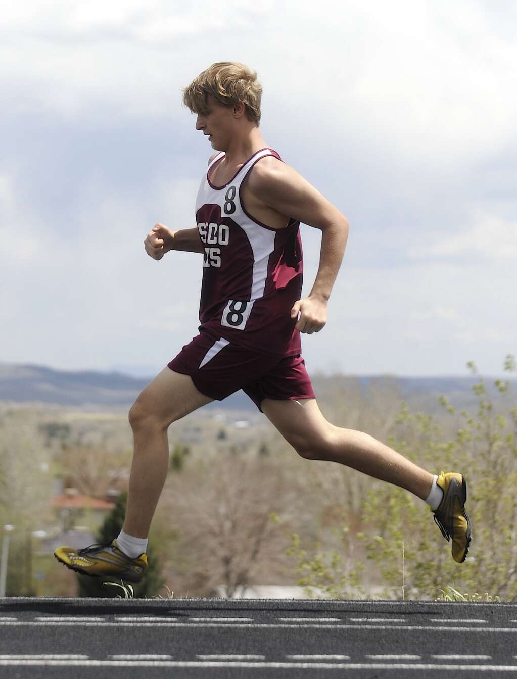 A Soroco athlete flies down the track at the Clint Wells Invitational in Craig on Friday. (Photo by Shelby Reardon)
