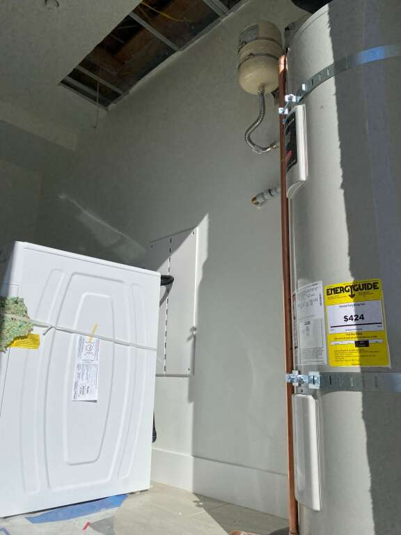 Washer and dryers and water heaters are already installed in units for the third phase of Burlingame Ranch.