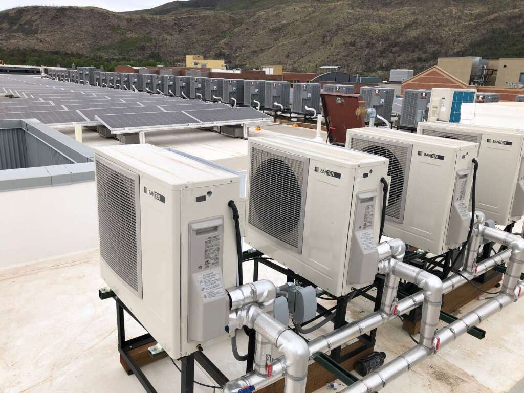 Eight cold-climate heat pumps will heat all the water for Aspen Skiing Co.'s new affordable housing project. | Scott Condon/The Aspen Times