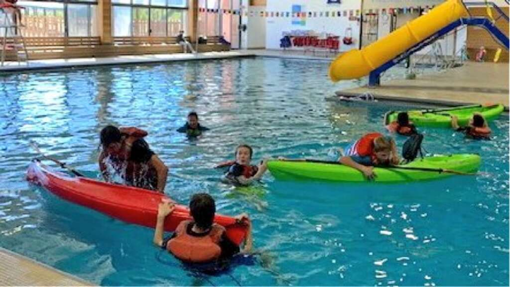 High School students practice water safety at the YMCA pool during their outdoor survival skills class. | Courtesy EGSD
