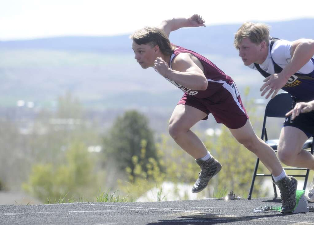 Soroco athelte Gavyn Salberg bursts out of the blocks at the Clint Wells Invitational in Craig on Friday. (Photo by Shelby Reardon)
