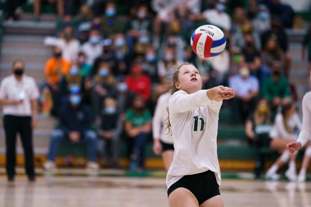 Kayla Hanson keeps the ball in play with a bump during the Tigers' match against the Eagle Valley Devils on Monday, Sept. 20, at Summit High School in Breckenridge. | John Hanson/For the Summit Daily News