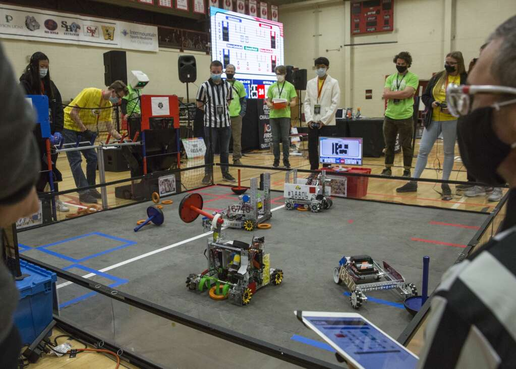 Drivers from Team 12376 Yolt, in yellow, participate in a qualifying FTC round during the Park City Qualifier on Saturday, April 3, 2021. (Tanzi Propst/Park Record)