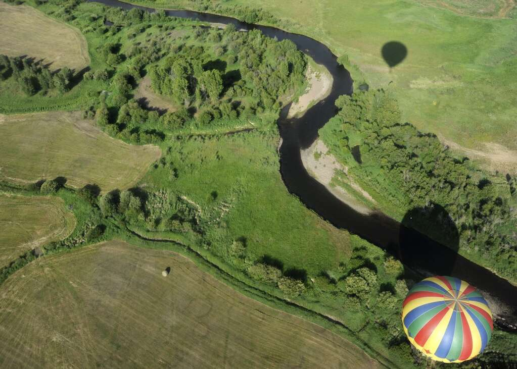 The Wild West balloon from above, viewed from the Dee III, piloted by Tim Taylor on Thursday morning. (Photo by Shelby Reardon)