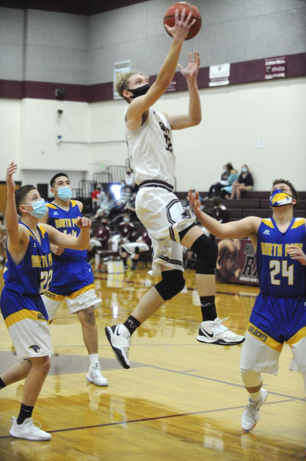 Soroco senior Liam Yaconiello scores a layup during a game in Oak Creek on Saturday afternoon. (Photo by Shelby Reardon)