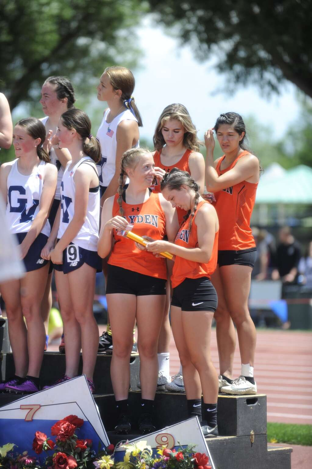 Hayden finished ninth in the 4x200 with the team of Jillian Bennett, Isabella Simones, Jenna Kleckler and Mia Mikos at the CHSAA Track and Field State Championships at JeffCo Stadium on Friday. (Photo by Shelby Reardon)