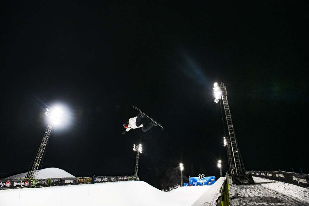 American snowboarder Shaun White airs out of the Buttermilk Superpipe on the first evening of practice for the 2021 X Games Aspen on Tuesday, Jan. 26, 2021.
